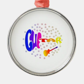 guitar txt shaped stars music design.png round metal christmas ornament