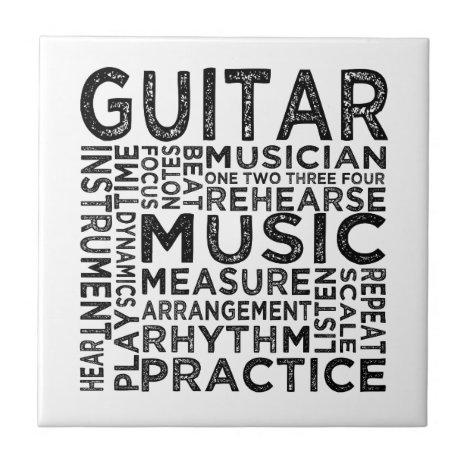 Guitar Typography Ceramic Tile