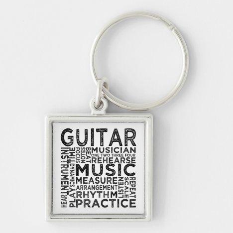 Guitar Typography Keychain