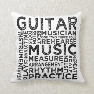 Guitar Typography Throw Pillow
