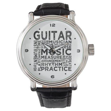 Guitar Typography Wristwatch