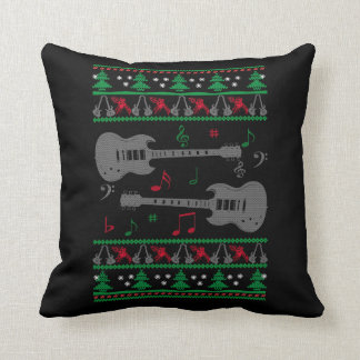Guitar Ugly Christmas Throw Pillow
