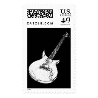 guitar vertical stamp