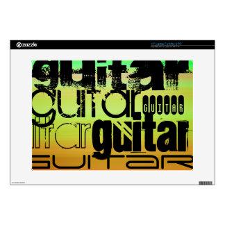 "Guitar; Vibrant Green, Orange, & Yellow Decal For 15"" Laptop"