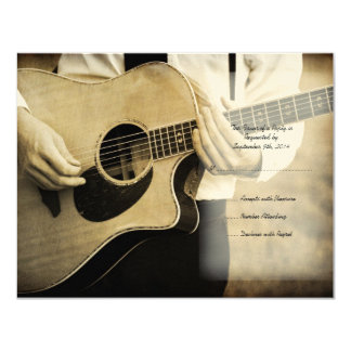 "Guitar Wedding Invitation RSVP card 4.25"" X 5.5"" Invitation Card"