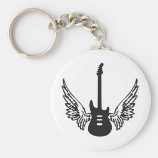 guitar wings basic round button keychain
