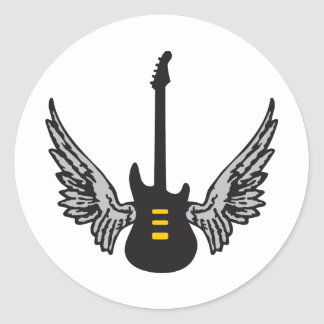 guitar wings classic round sticker