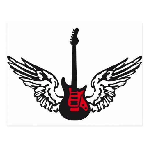 guitar wings post card