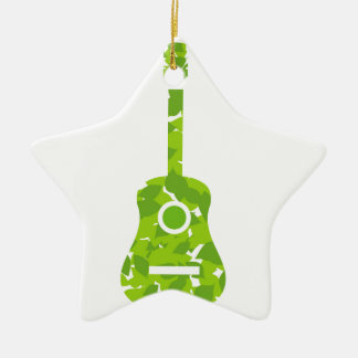 Guitar with green leaves ceramic ornament