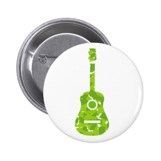 Guitar with green leaves pinback button