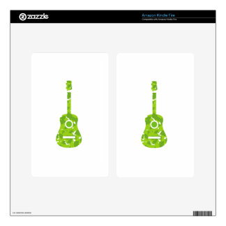 Guitar with green leaves skins for kindle fire