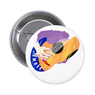 Guitar with Hand and Word Music graphic Pins