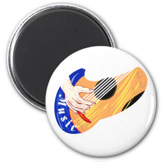 """Guitar with Hand and Word """"Music"""" graphic Fridge Magnets"""