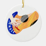 """Guitar with Hand and Word """"Music"""" graphic Christmas Ornaments"""
