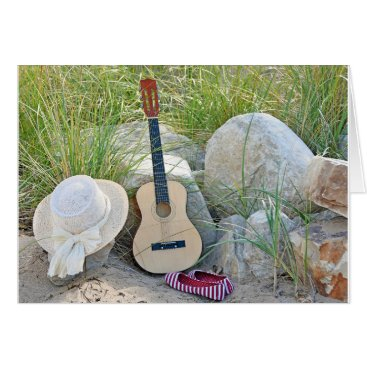 Beach Themed guitar with hat and shoes on beach card