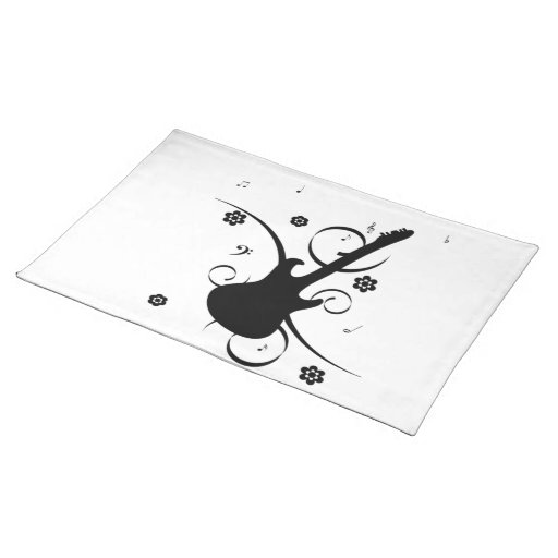 Guitar With Musical Notes Placemats