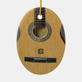Guitar with (or without) your Initial(s) Ceramic Ornament