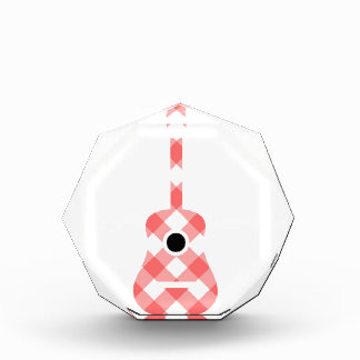 Guitar with red gingham pattern fabric acrylic award