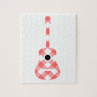 Guitar with red gingham pattern fabric jigsaw puzzle