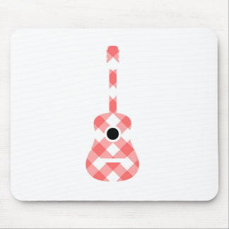 Guitar with red gingham pattern fabric mouse pad