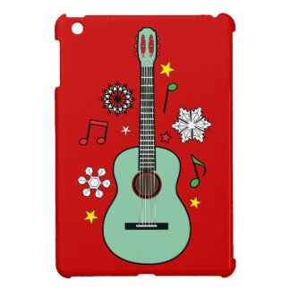 Guitar with Snowflakes and Musical Notes on Red Cover For The iPad Mini