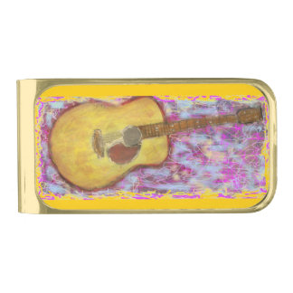 guitar with yellow patina gold finish money clip