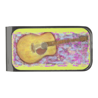 guitar with yellow patina gunmetal finish money clip