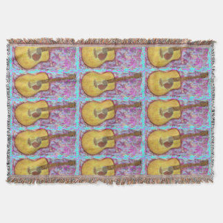 guitar with yellow patina throw blanket