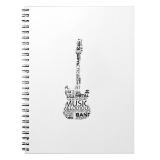 guitar word fill black music image notebook