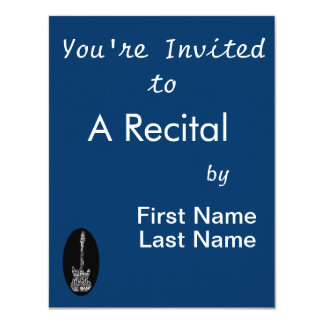 """guitar word fill white on black music image.png 4.25"""" x 5.5"""" invitation card"""