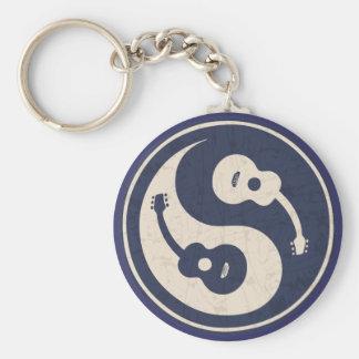 Guitar Yang -blue Basic Round Button Keychain