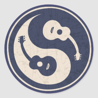 Guitar Yang -blue Classic Round Sticker