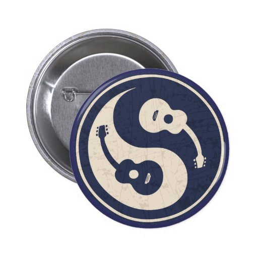 Blue Guitar Yin Yang Round Button
