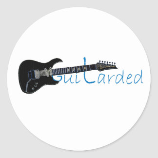 Guitarded Black Electric Guitar Round Stickers