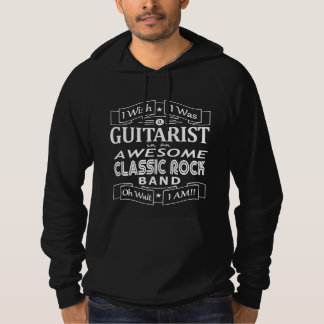 GUITARIST awesome classic rock band (wht) Hoodie