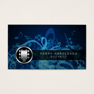 Guitarist Bold Guitar Headstock Icon Business Card