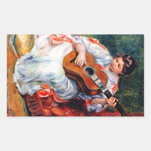 Guitarist by Pierre Renoir Rectangle Sticker