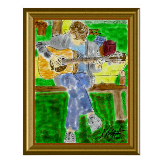 Guitarist Chording D Poster