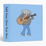 Guitarist. Elephant Playing Electric Guitar. 3 Ring Binder