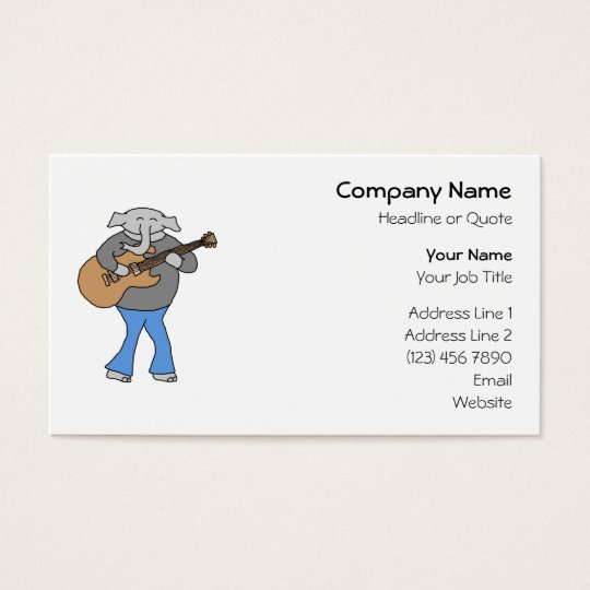 Guitarist. Elephant Playing Electric Guitar. Business Card