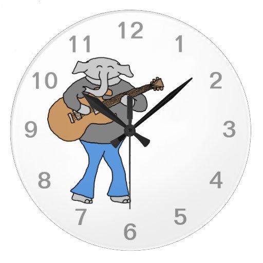 Guitarist. Elephant Playing Electric Guitar. Wallclock