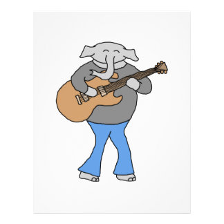 "Guitarist. Elephant Playing Electric Guitar. 8.5"" X 11"" Flyer"
