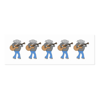 Guitarist. Elephant Playing Electric Guitar. Mini Business Card