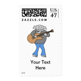 Guitarist. Elephant Playing Electric Guitar. Postage