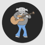 Guitarist. Elephant Playing Electric Guitar. Round Stickers