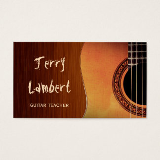 Guitarist Guitar Player Teacher Stylish Wood Look Business Card