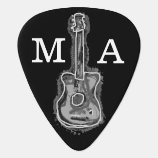 guitarist initials & name, black & white guitar pick