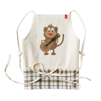 Guitarist monkey cartoon zazzle HEART apron