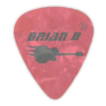 Guitarist Name Personalized Red Pearl Celluloid Guitar Pick by mixedworld at Zazzle