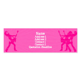 Guitarist Pink  - Skinny Double-Sided Mini Business Cards (Pack Of 20)